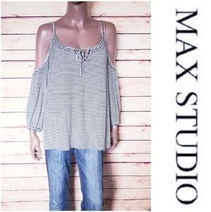 Max Studio Cold Shoulder Top Black/White